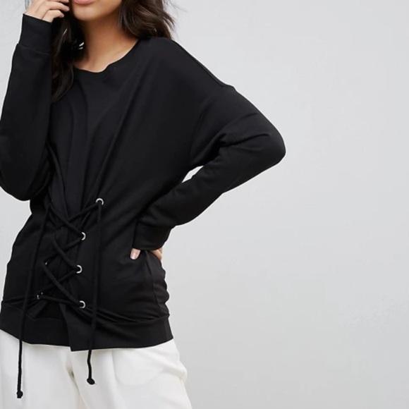 Vera Moda Corset Detailed Black Pullover Sweater
